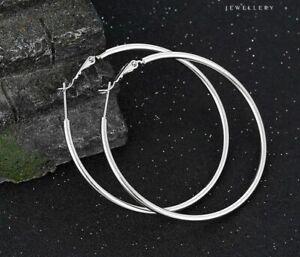 "9ct 9K White ""GOLD FILLED"" Ladies Lovely LARGE HOOP EARRINGS. 50mm Gift,2101"