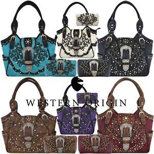 Western Buckle Country Handbag Concealed Carry Purse Women's Shoulder Bag Wallet