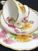 VINTAGE ROSLYN CHINA SUMMER BEAUTY TRIO TEACUP SAUCER AND PLATE FLORAL GOLD EDGE
