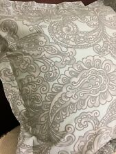 Pottery Barn Euro Pillow Sham Blue Grey Paisley Cotton