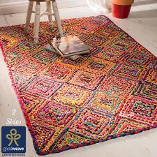 Fair Trade Multi Colour Diamond Rag Rug Jute Cotton Braided Recycled Shabby Chic
