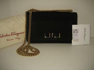 NEW $1290 Salvatore Ferragamo Ginevra Black Suede Leather Messenger Shoulder Bag