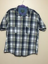 Mens Woolrich SS Button Down Shirt Sz 2XL XXL Cotton EUC Plaid Blue White Gray