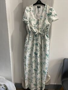 IN THE STYLE X STACEY SOLOMON White Floral Short Sleeve Jumpsuit Size UK 12