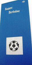 """Birthday Card Completed Cross Stitch Football 8.25x4"""""""