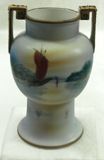 "VINTAGE NIPPON PORCELAIN HAND PAINTED 6 1/2"" VASE WITH NIPPON MARKINGS ON BOTTOM"