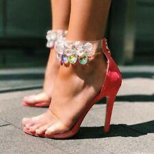 Sexy Women Clear Sandals Peep Toe Rhinestone Ankle Strap Stilettos Shoes Plus Sz