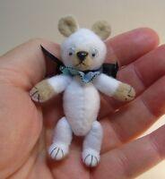 "Miniature Artist made non-jointed Teddy Bear 2 3/4"" OOAK by Beth Diane Hogan"