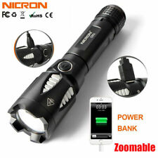 Nicron 1500LM Zoomable T6 Rechargeable LED Flashlight 18650 For Phone Power Bank