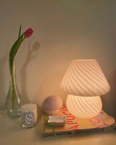 Striped Baby Mushroom Lamp, Murano Style Glass Lamp, Bedside Table Lamp,