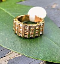 18 Karat Heavy Gold Electroplate & Cubic Zirconia Ring Size 7 Ana BeKoach
