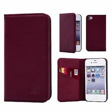32nd Classic Series - Real Leather Book Wallet Flip Case Cover for Apple iPhone