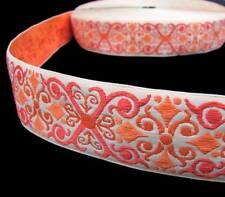 "2 Yds Yellow Orange Ornate Scroll Woven Belt Jacquard Ribbon 1 1/2""W"