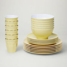 Barel Designs Classic Beige Melamine 48 Piece Dinner Set - Cups, Bowls, Plates