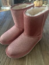 UGG australia auth women's classic short fur glitter boots in pink size 5 NWOB
