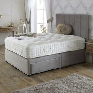 Plush Velvet Divan Storage Upholstered Fabric Bed Frame Base with FREE Headboard