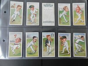 """Cigarette Card Set (50) Cricketers Caricatures by """"RIP"""" - Orig. Players 1926 VGC"""
