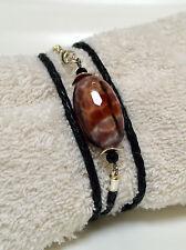 Feuerachat Leder Wickelarmband Armband Armschmuck Exotic Olive Schwarz Orangerot