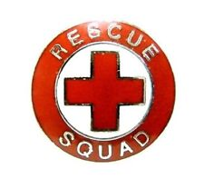 First Aid Red Cross Collar Pin Device Silver Trim Metal Clutch Back 70S New