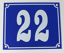 """Aluminium Hausnummer """"22"""" 12x10cm blau Hausnummernschild sofort lieferbar Schild"""