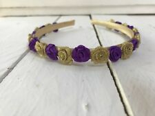 Gold Headband Hairband Alice Band Gold & Purple Flowers Bridesmaid Flower Girl
