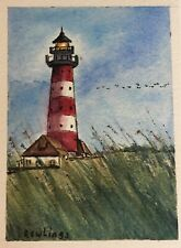 """ACEO Original Watercolor and Ink Landscape 2.5"""" x 3.5"""" Lighthouse, Grass"""