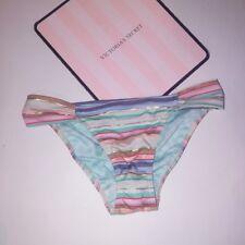 Victoria Secret Swim Bikini Bottom X-Small XS Blue Metallic Stripe Shimmer