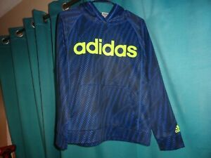 Boys Adidas Pullover Hoodie Blue/Lime Size L 14-16 NWOT