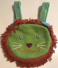 Blabla Lion Backpack Kids Bag Green Crochet Knit Yarn