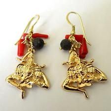 SICILY Women's Earrings C. Gold TRINACRIA with Sim. Red Coral  Lava stone 362 V