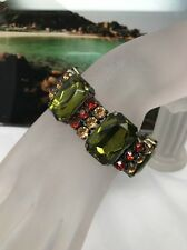 Vintage Art Deco Style Green Lucite Rhinestone Stretch Expansion Bracelet