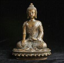 Old Tibet Tibetan Buddhist Bronze Shakyamuni Buddha Statue