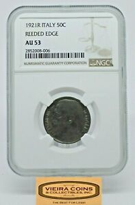 1921R Italy 50C, Reeded Edge NGC AU53, Hard to Find -  #CONS20622NQB