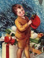 C.1910 Clapsaddle Cute Boy Christmas Presents Snow Postcard P134
