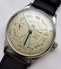 USSR.Soviet wristwatch MOLNIYA. Molnija. Vitruvian Man. Leonardo da Vinci. Steel