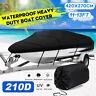 11-13ft 420cmx270cm Waterproof Trailerable Marine Grade Boat Cover 210D Black
