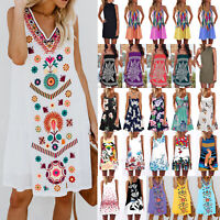 Womens Summer Holiday Tunic Mini Beach Dress Bikini Cover Up Sundress Plus Size