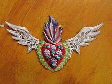 Winged Sacred Heart Tin Door Topper #3--Painted-Mexican Folk Art-Handmade-8x5 in