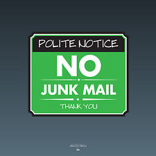 SKU093 - No Junk Mail Front Door Sign Sticker - 140mm x 118mm