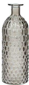 Bottle Flower Vase 25cm Grey Tinted Geometric Design Decorative Flower Bud Vase