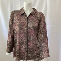 J Jill Womens Multicolored Floral Button Front Blouse Size Large