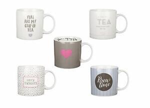 Set of 5 Jumbo 19oz (540ml) Stoneware Mugs Cups Printed Decorative Fun Messages
