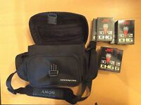 SONY Soft Carry Case Small Camera Handycam Camcorder Bag Tote w/ 6 New JVC Tapes