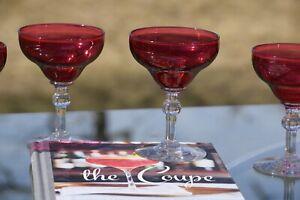 Vintage Red Crystal Cocktail Martini Glasses, Set of 4, Vintage Champagne Coupes