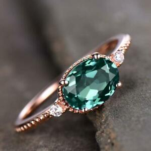 2Ct Oval Cut Green Emerald Solitaire Fancy Engagement Ring 14K Rose Gold Finish