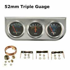 Universal 52mm Car 3 in 1 Amperes Water Temp Oil Pressure Triple Gauge Set Meter