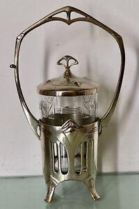 fine wmf secessionist jugendstil  art nouveau pewter pickle jar & original liner