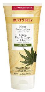 Burt's Bees HEMP Seed Oil BODY LOTION Dry Skin Moisturiser 170g 99% Natural