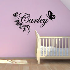 Flower Personalized Name Butterfly Art Wall Decoration Wall Decal Bedroom Vinyl
