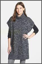 NEW Nordstrom Collection Turtleneck 100% Cashmere Vest-Pullover Black/Ivory M/L